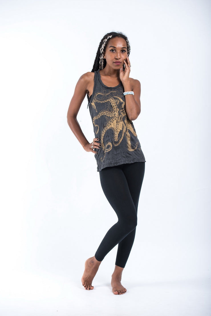 Womens Octopus Tank Top in Gold on Black