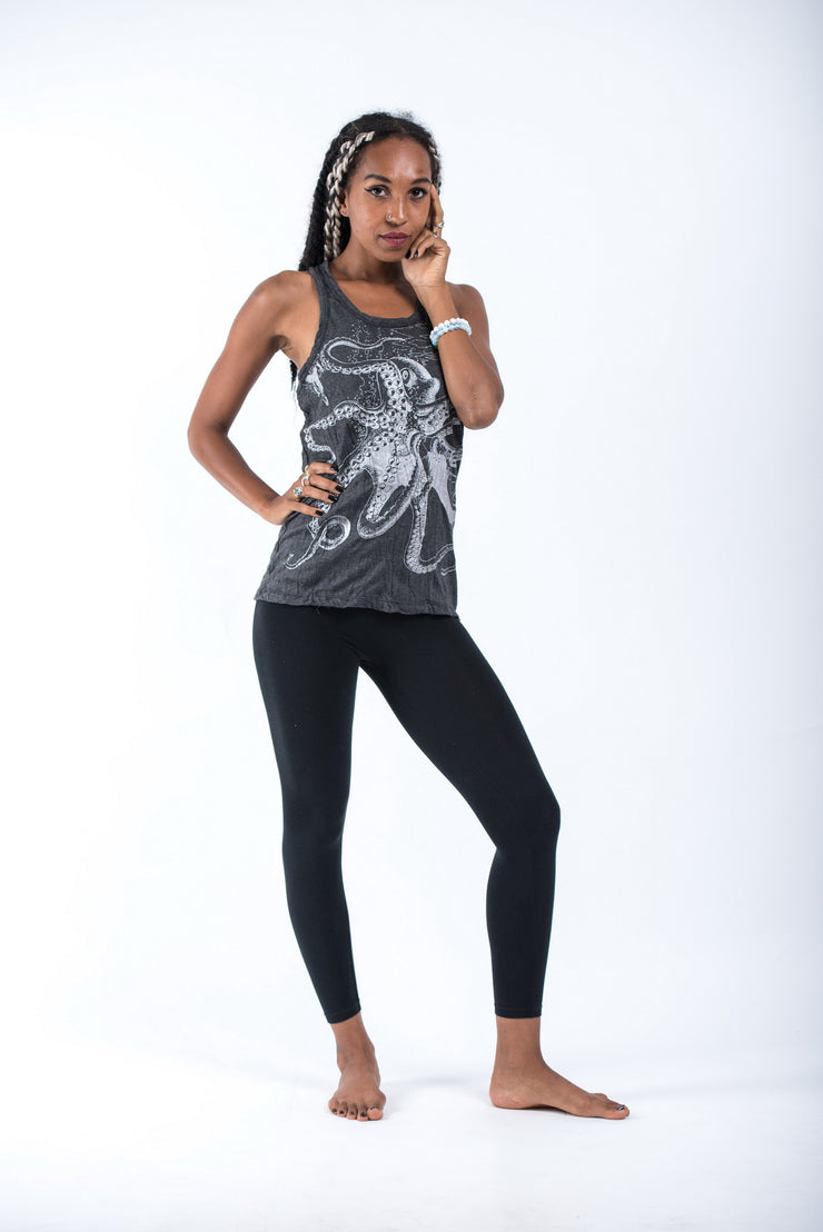 Womens Octopus Tank Top in Silver on Black