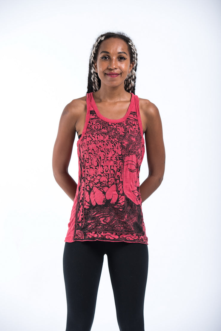 Womens Sanskrit Buddha Tank Top in Red