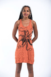 Womens Octopus Tank Dress in Orange