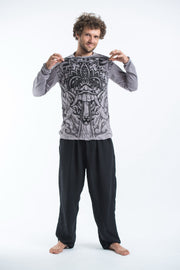 Unisex Bali Mask Long Sleeve T-Shirt in Gray