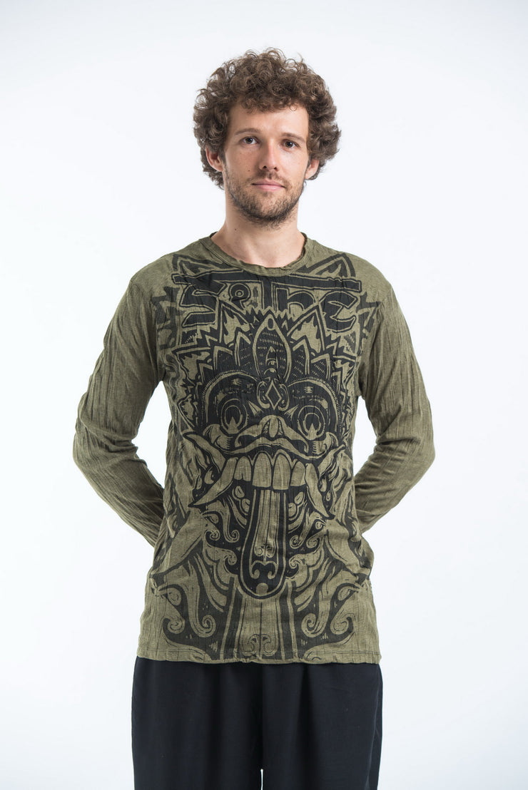 Unisex Bali Mask Long Sleeve T-Shirt in Green