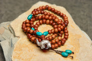 Tibetan Wooden Prayer Beads Mala with Elephant Silver Charm
