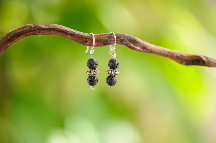 Black Lava Stones Earrings with Flower Charm