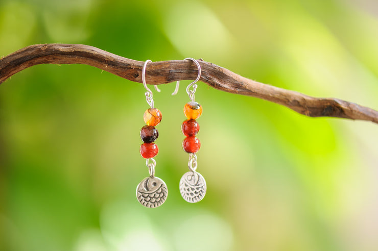Carnelian Stones Earrings with Fish Charm