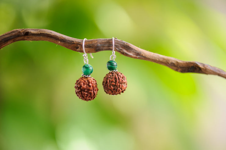Rudraksha Beads And Malachite Stones Earrings