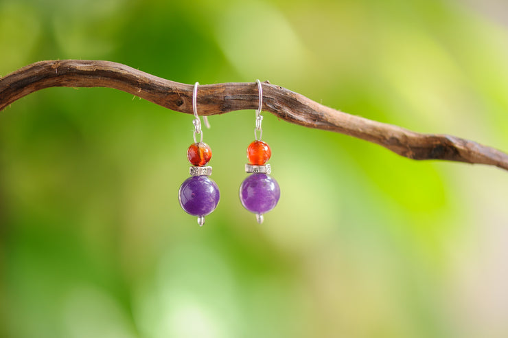 Amethyst And Carnelian Stones Earrings
