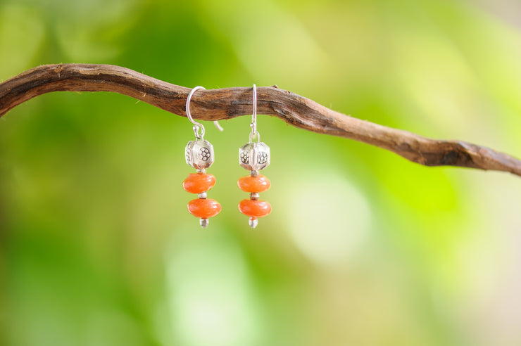 Carnelian Sterling Silver Earrings with Flower Charm