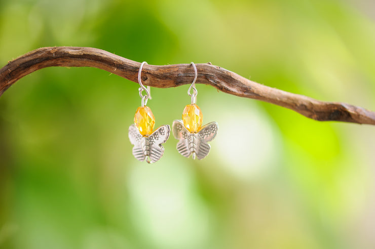 Topaz Stones Earrings with Butterfly Charm