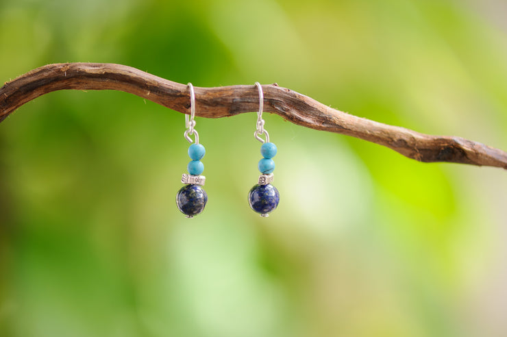 Lapis Lazuli And Turquoise Stones Earrings