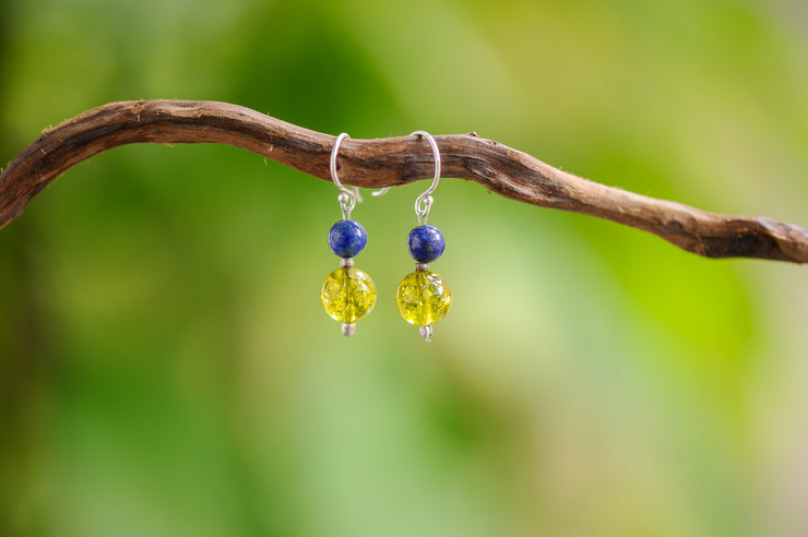 Peridot And Lapis Lazuli Stones Earrings