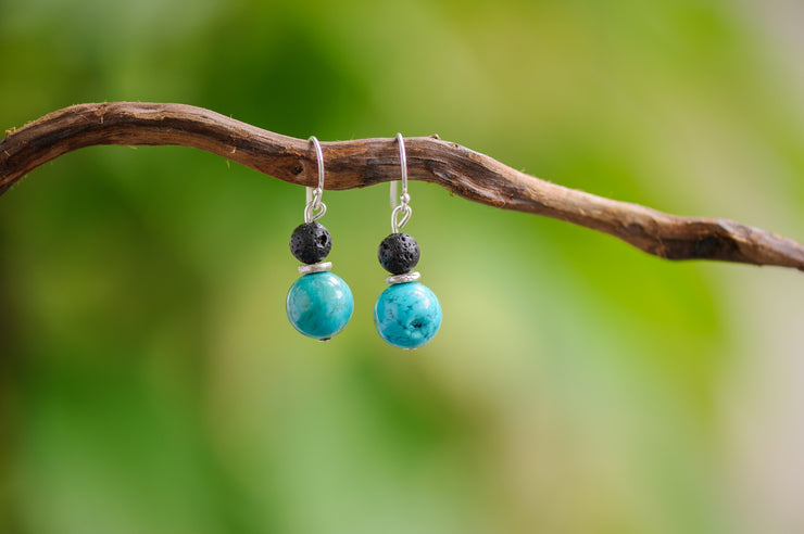 Turquoise And Black Lava Stones Earrings