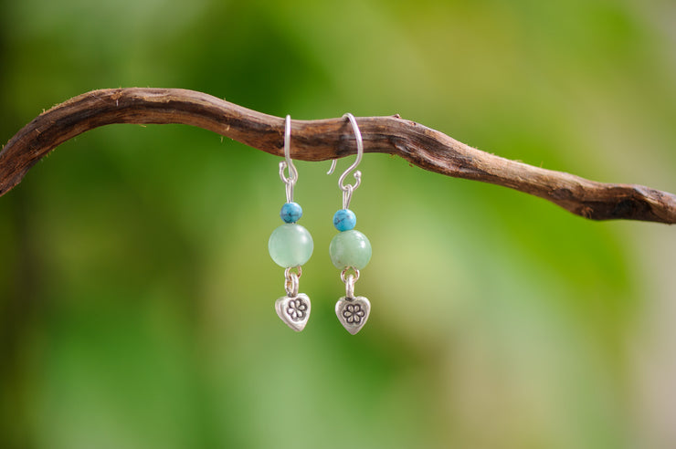 Jade And Turquoise Stones Earrings with Heart Charm