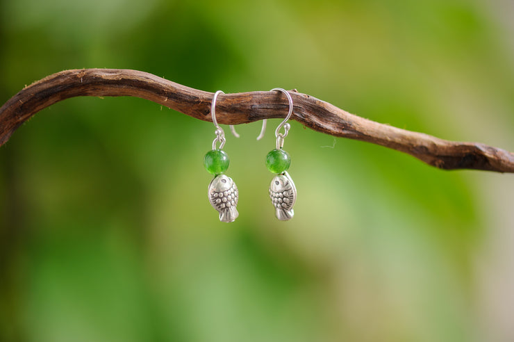 Jade Stones Earrings with Fish Charm