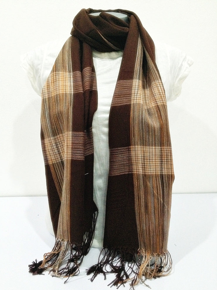 Thai Silky Plaid Scarf in Brown