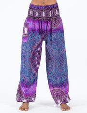 Unisex Tribal Chakras Harem Pants in Purple