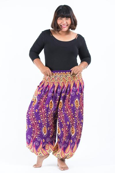 Plus Size Unisex Peacock Paisley Harem Pants in Purple