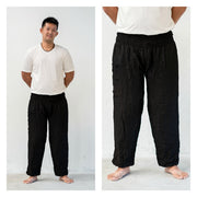 Unisex Solid Color Harem Pants in Black