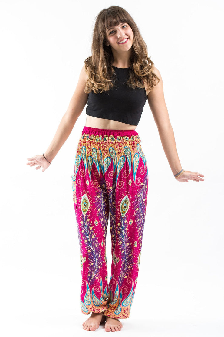 Unisex Peacock Paisley Harem Pants in Pink