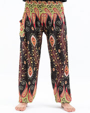 Unisex Peacock Paisley Harem Pants in Black