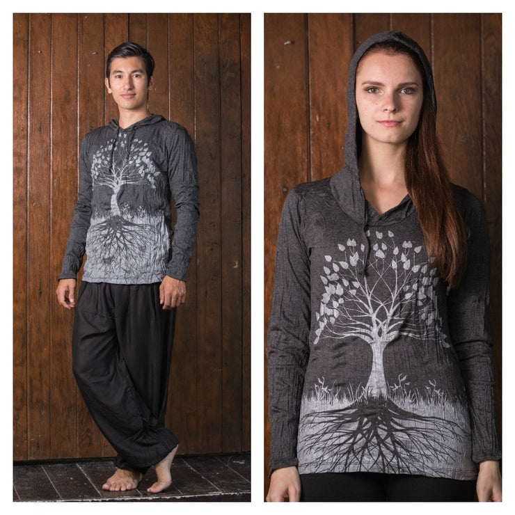 Unisex Tree of Life Hoodie in Silver on Black