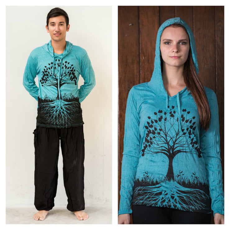 Unisex Tree of Life Hoodie in Turquoise
