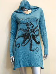 Womens Octopus Hoodie Dress in Turquoise