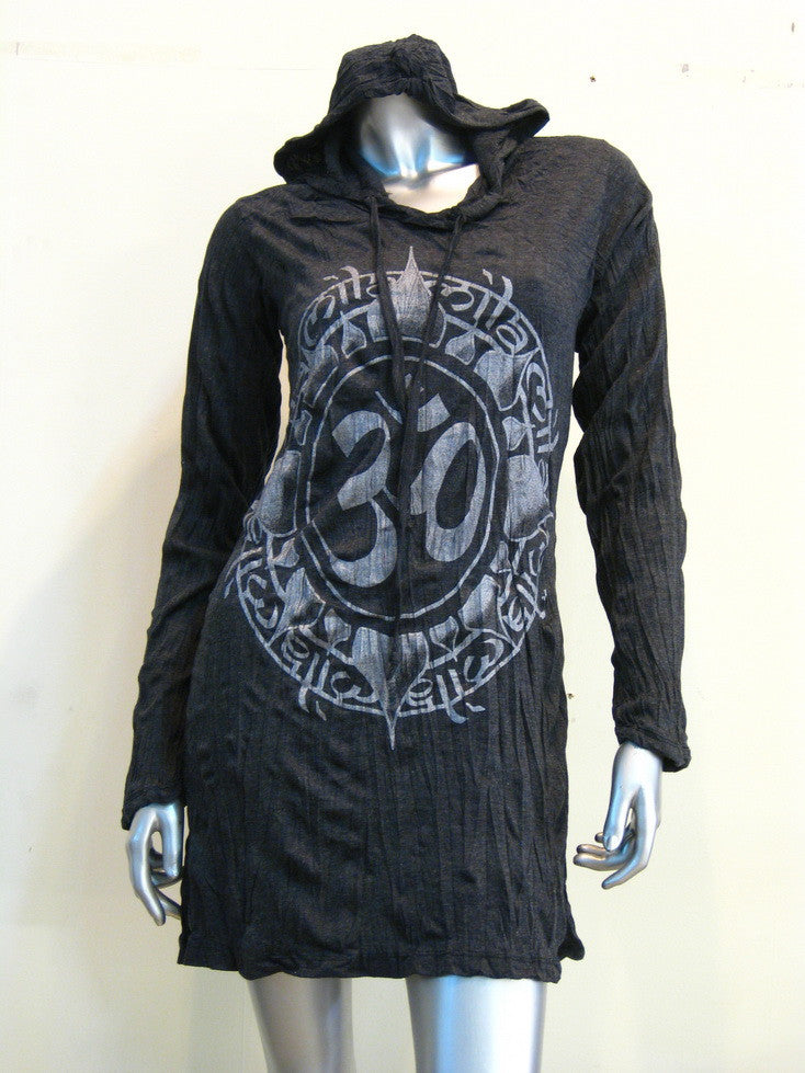 Womens Infinitee Om Hoodie Dress in Silver on Black