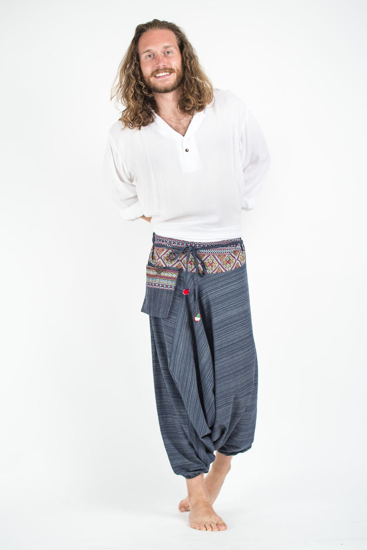 Unisex Pinstripe Harem Pants With Hill Tribe Trim in Navy