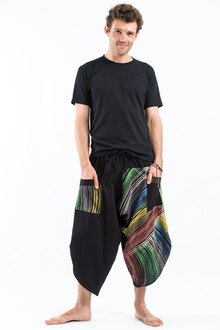 Unisex two Tone Rainbow Prints Three Quarter Pants in Black