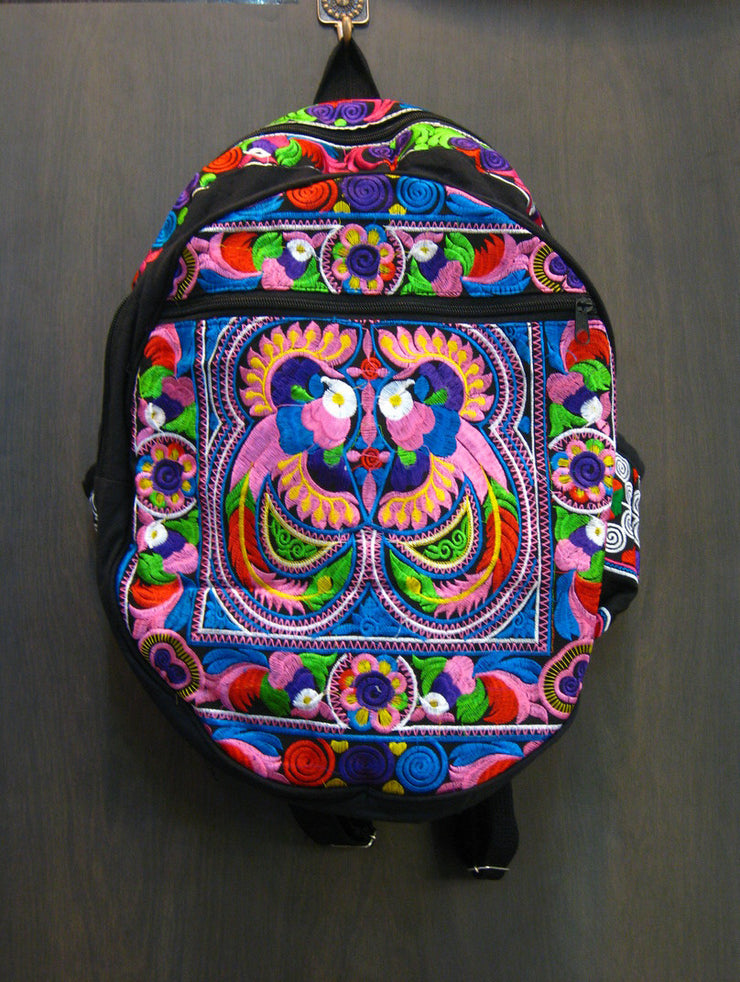Hmong Hill Tribe Embroidered Peacock Backpack in Purple