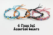 Assorted 4 Pieces Set Thai Waxed String Bracelets with Color Beads