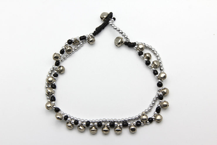 Silver Beads Anklet with Silver Bells in Black