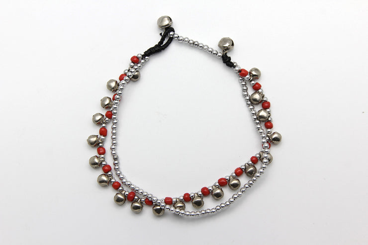 Silver Beads Anklet with Silver Bells in Red