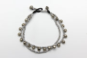 Silver Beads Anklet with Silver Bells in Silver