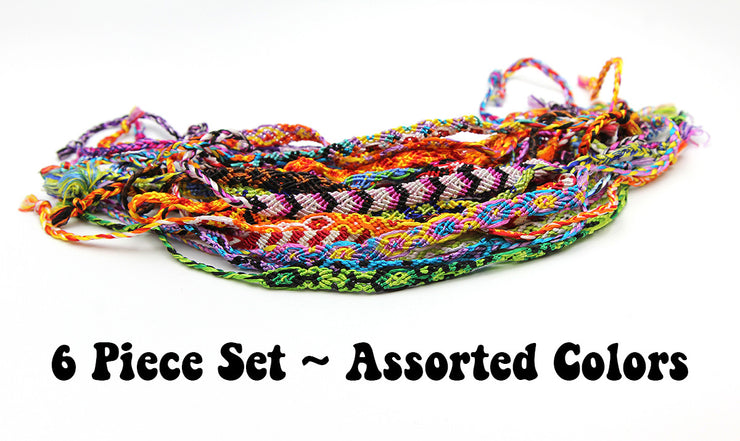 Assorted 6 Piece Set Woven Friendship Bracelets