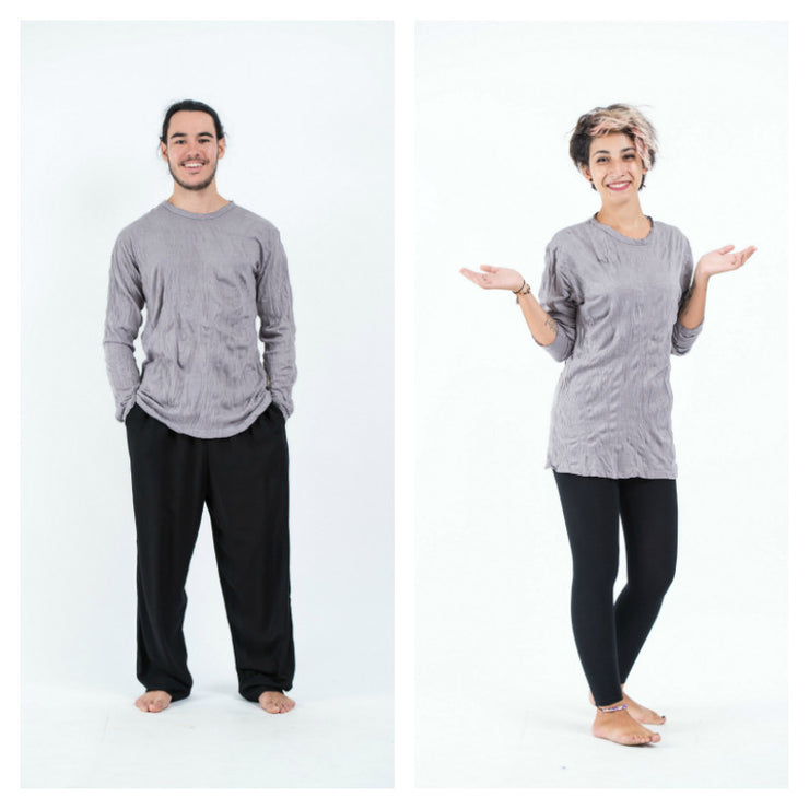 Unisex Solid Color Long Sleeve T-Shirt in Gray
