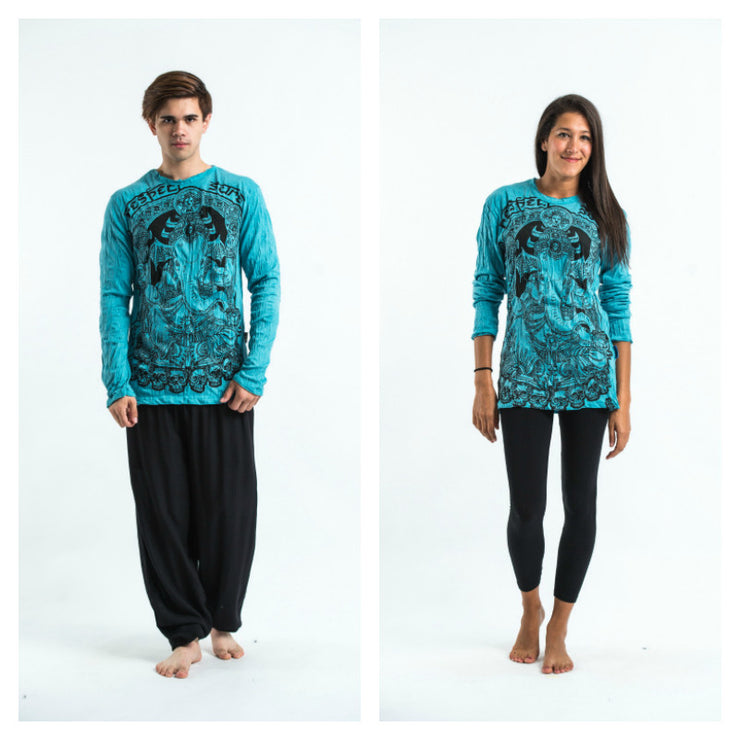 Unisex Batman Ganesh Long Sleeve T-Shirt in Turquoise