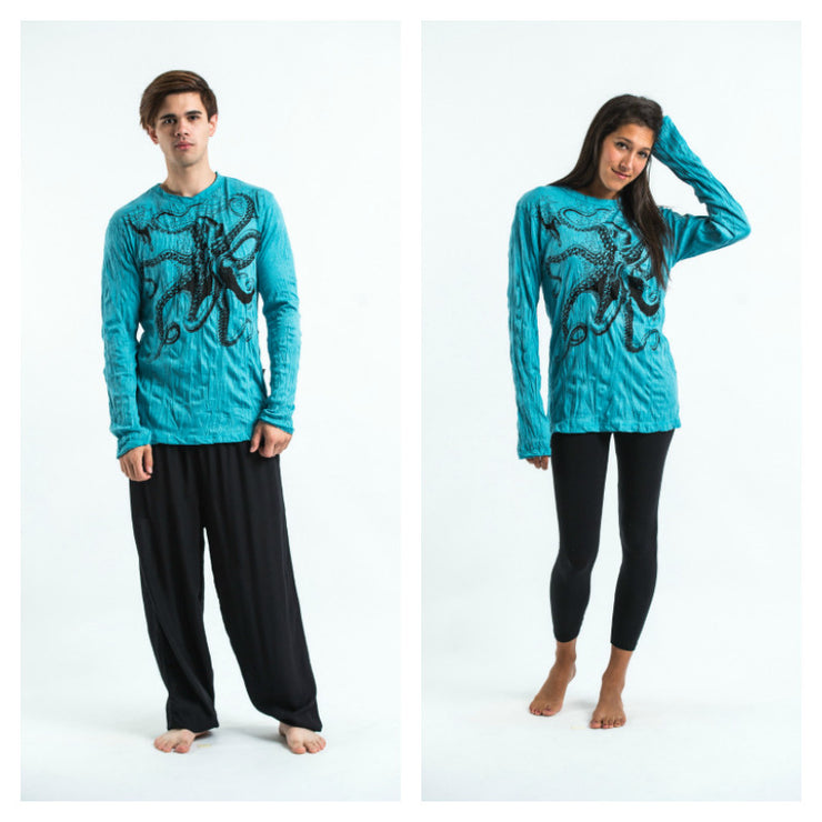 Unisex Octopus Long Sleeve T-Shirt in Turquoise