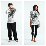 Unisex Octopus Long Sleeve T-Shirt in White