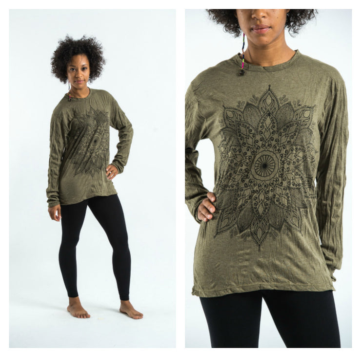 Unisex Lotus Mandala Long Sleeve T-Shirt in Green