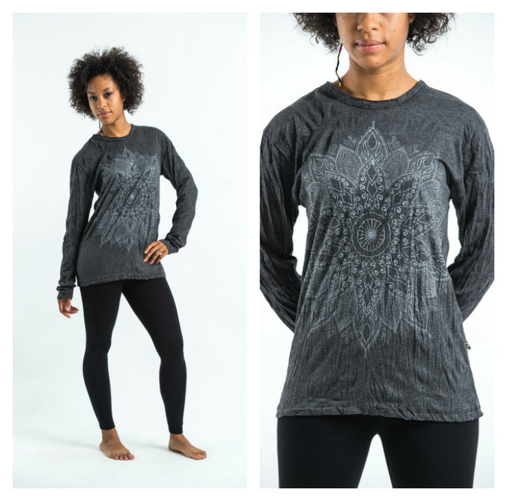 Unisex Lotus Mandala Long Sleeve T-Shirt in Silver on Black