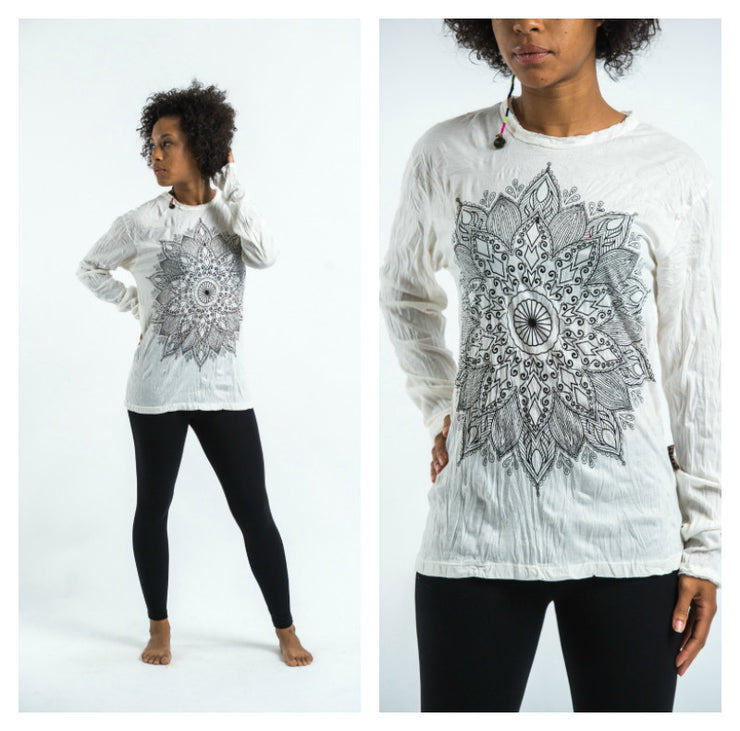 Unisex Lotus Mandala Long Sleeve T-Shirt in White