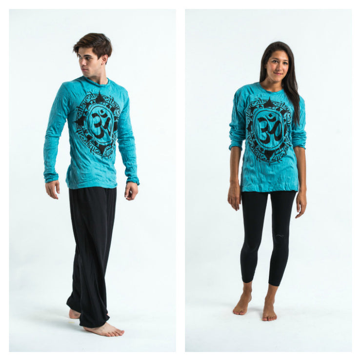 Unisex Infinitee Om Long Sleeve T-Shirt in Turquoise