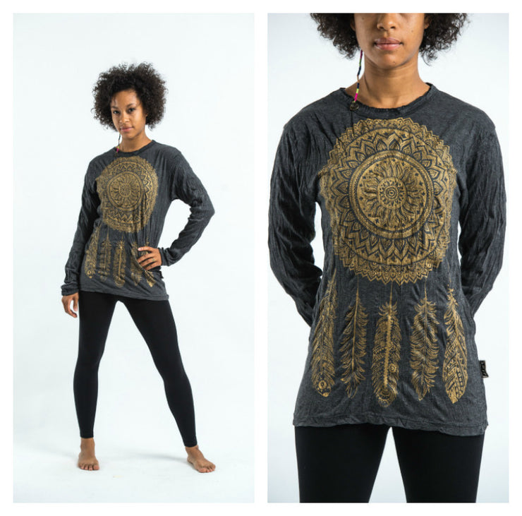Unisex Dreamcatcher Long Sleeve T-Shirt in Gold on Black
