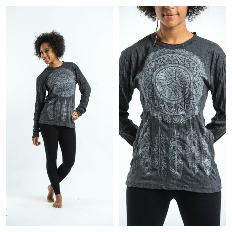 Unisex Dreamcatcher Long Sleeve T-Shirt in Silver on Black