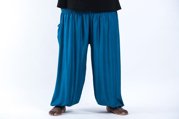 Plus Size Unisex Solid Color Harem Pants in Royal Blue
