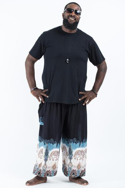 Plus Size Unisex Solid Top Elephants Harem Pants in Black