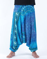 Unisex Tribal Chakras Drop Crotch Drop Crotch Jumpsuit Harem Pants in Blue