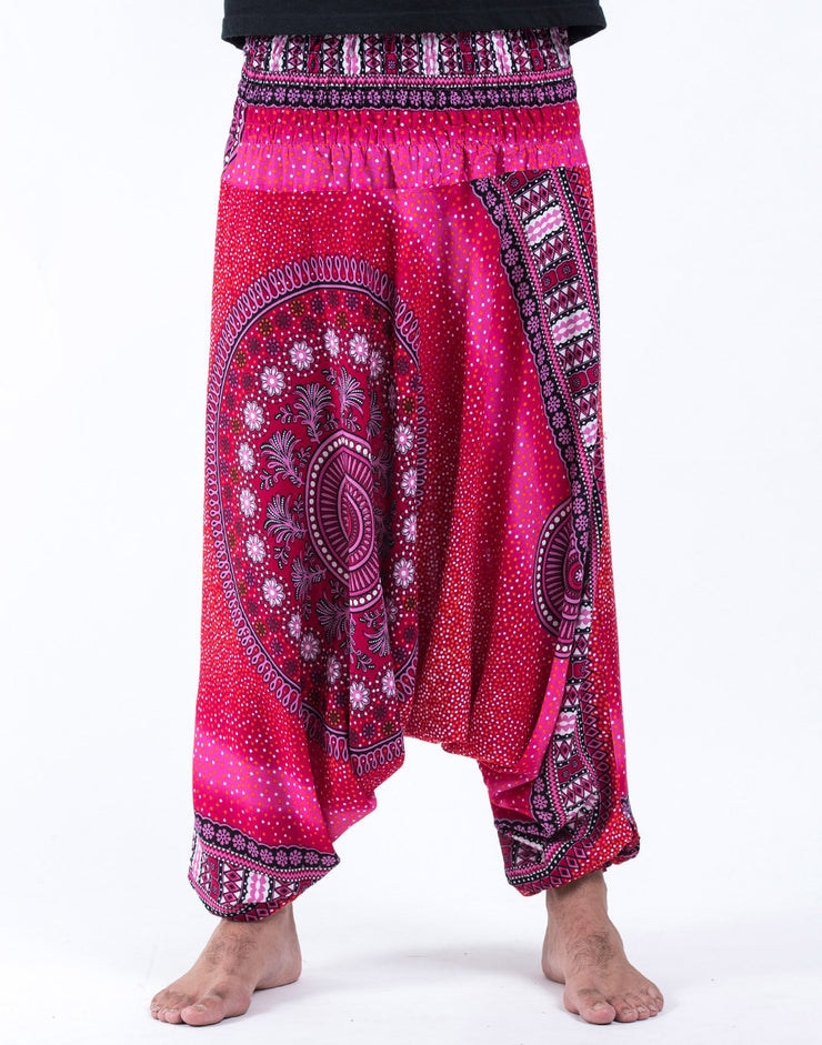 Unisex Tribal Chakras Drop Crotch Drop Crotch Jumpsuit Harem Pants in Pink